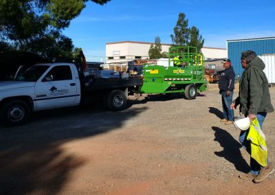 Hydro seeder truck getting prepared for Slide Rock State Park